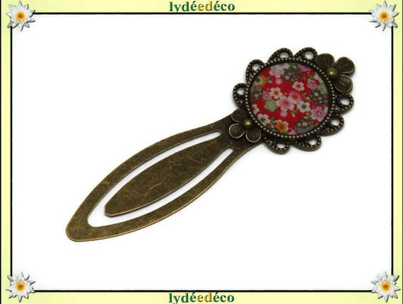 Bookmarks resin flower red green white pink Japan brass 20mm mother's day birthday personalised thank you teacher