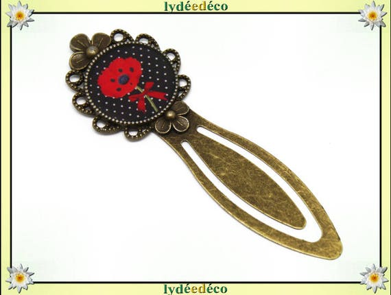 Resin green black red poppy flower bookmark brass bronze 20mm mother's day birthday personalised thank you teacher