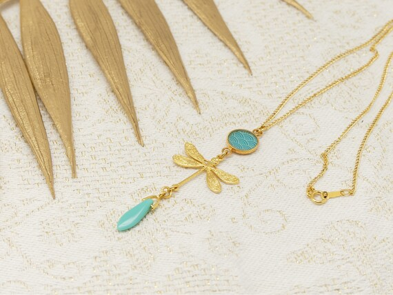 LiBELLULE brass neck lap gold 24k gold filled 14k LEAF turquoise or coral wave Japan ceremonies
