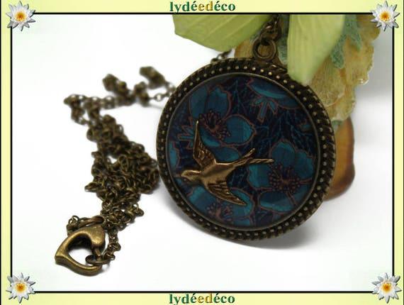 Retro bird flower Locket Necklace blue retro resin bronze 32mm Christmas gift