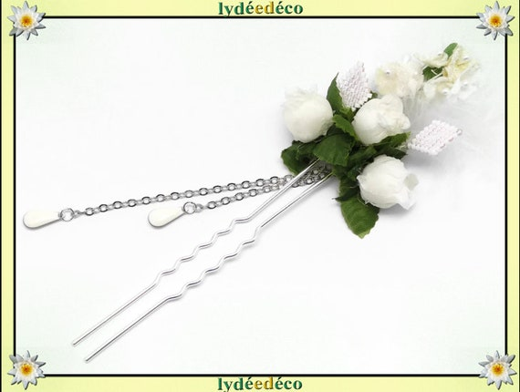 Retro wedding hair pique beads Japan white flowers feather gift guests bridesmaid witness couple bride accessory