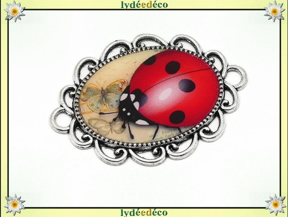 1 magnet magnet Red Ladybug beige black white resin mother's day gift personalized birthday thank you teacher