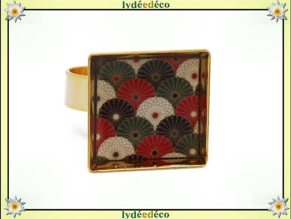 Bague EVENTAIL carrée Japon en laiton doré à l'or fin 24 carats 24 K resine rouge vert blanc noir 17mm réglable