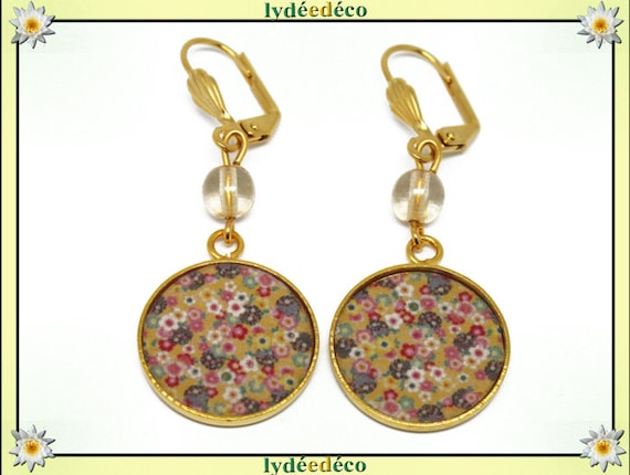 Boucles d'oreilles laiton doré or fin 24k Japon jaune multicolore résine perles cadeau anniversaire fete des meres mariage merci maitresse