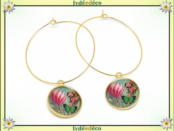 Earrings Creoles balloon Butterfly flower green white rose Golden brass gold fine 24 carats 24k resin feast of the mothers Christmas birthday gift
