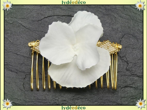 Vintage hair comb wedding weaving bead Japan white gold white flower hydrangea guest gift bridesmaid jewelry bridal accessory couple