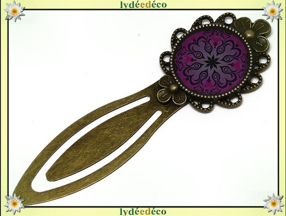 Retro bookmark bronze book resin black rose Mandalas mother father's day birthday Christmas custom gift