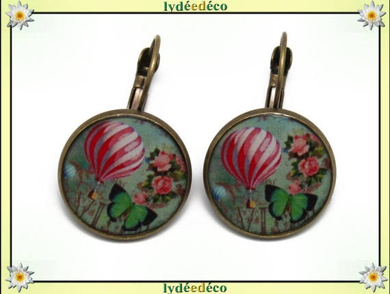 Earrings retro dream green white pink hot air balloon pattern resin and brass bronze 2cm