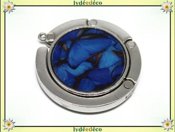 Purse hangs resin Butterfly Midnight blue gray black silver diameter 4.5 cm