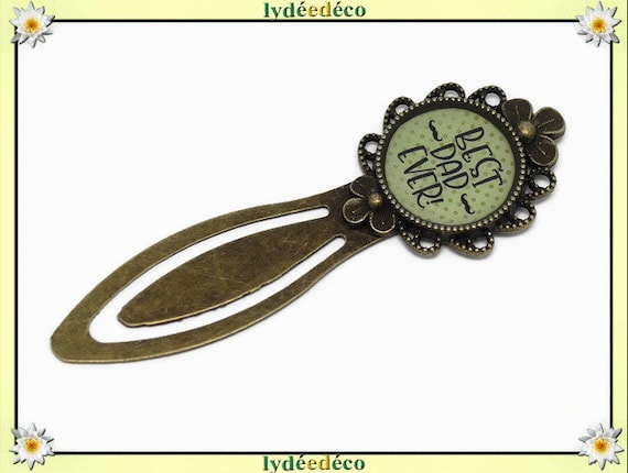 Bookmark best dad ever Green beige black polka dots moustache resin brass bronze 20mm celebration school birthday gift party of the fathers Christmas