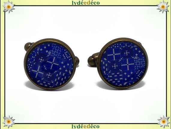 2 button cufflinks suit white blue resin Lisboa Azulejos brass 14mm thank you for father's day master birthday gift