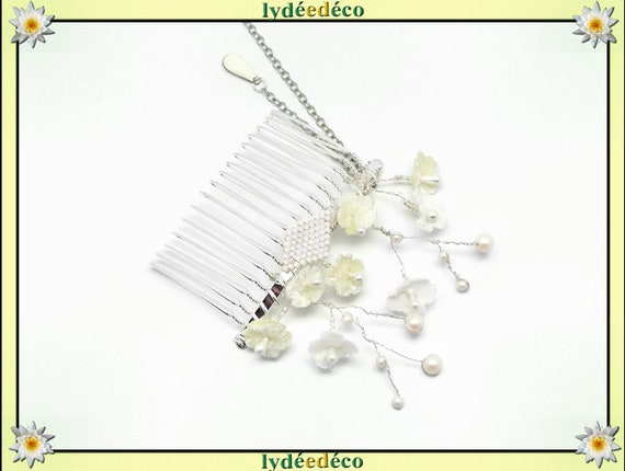 Vintage hair comb wedding weaving beads Japan white Pearly iridescent swarovski welcome gift bridesmaid jewelry bridal accessory couple