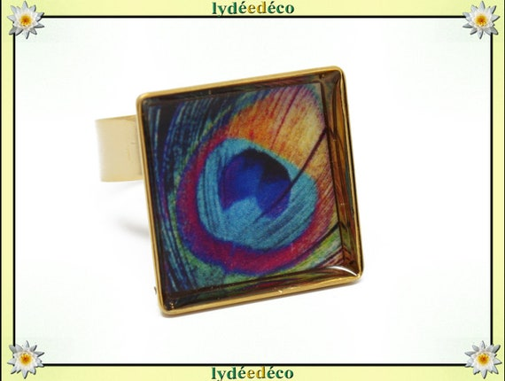 Peacock feather square ring with brass gold 24 carat 24 K resin blue turquoise orange pink 17mm adjustable