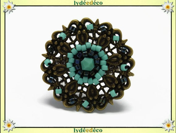 Charming retro vintage adjustable flower ring beads Japanese turquoise glass black brass 25mm