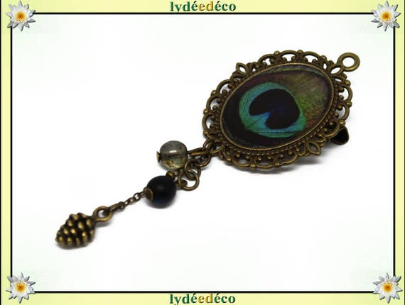 Retro pin brass pendant blue green Peacock feather resin oval 18 x 25mm charms beads