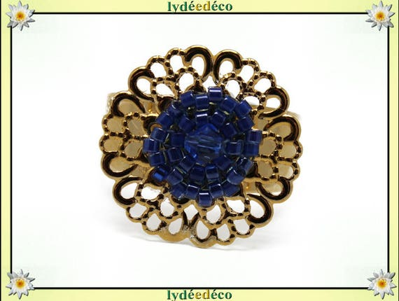 BLUE print with brass flower ring gold plated 24 carat 24 K woven beads Japanese dark blue colors 20mm adjustable