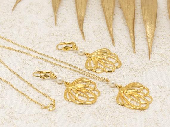 Adornment FLEUR necklace earrings brass or fine 24k swarovski resin gift birthday wedding christmas Christmas