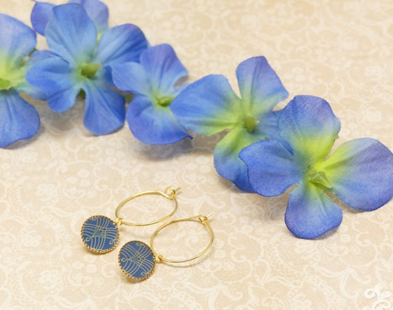 Mini Creoles ART DECO fan arabesque blue gold gold gold fine 24k resin gift gift birthday wedding Christmas
