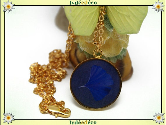 Necklace Golden brass gold 24 carat 24 k blue GINKO resin