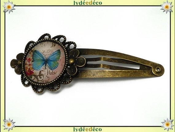 Barrette clip cheveux mariage résine rétro pince papillon rose bleu pastel laiton bronze fete des meres cadeau anniversaire