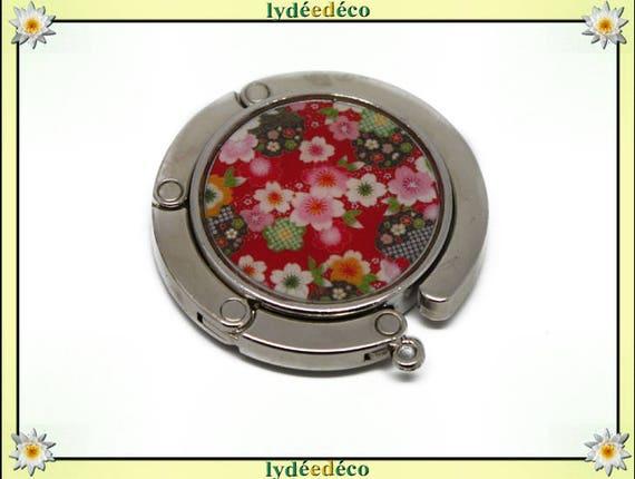 Bag hook retro Fleur Japan white green red pink sakura cherry resin on metal silver