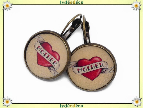 Earrings retro old school heart mother resin red beige black resin bronze party mothers gift Christmas birthday