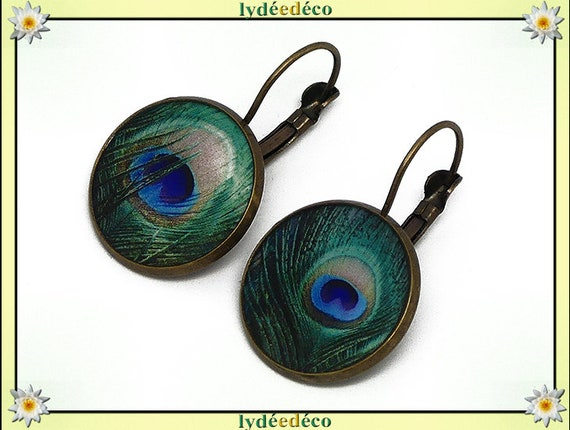 Retro earrings sleepers feather of peacock blue green beige resin bronze 2cm mothers Christmas gift anniversary