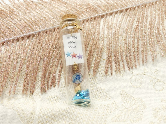 Fiole WISH glass bottle decoration message Happy New Year star flower resin blue pink purple pearl new year best wishes