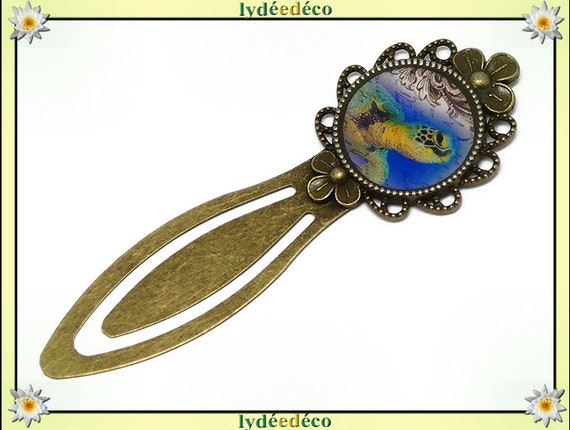 Arabesque beige blue green resin brass turtle bookmark bronze mother's day gift birthday thank you teacher
