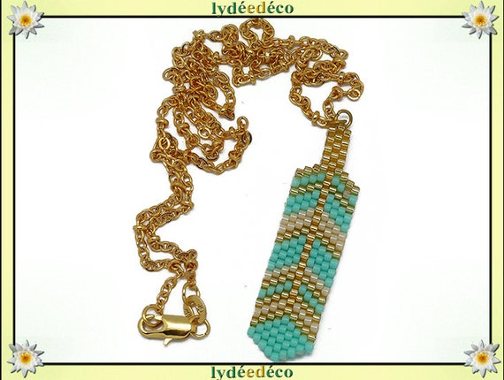 Necklace plated 18 k green turquoise gold beige feather weaving beads ball chain