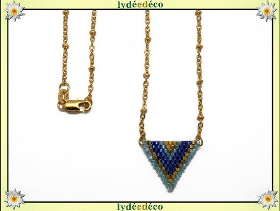Gold plated necklace pearls Japanese blue green pastel beige woven triangle chevron chain ball 18 k