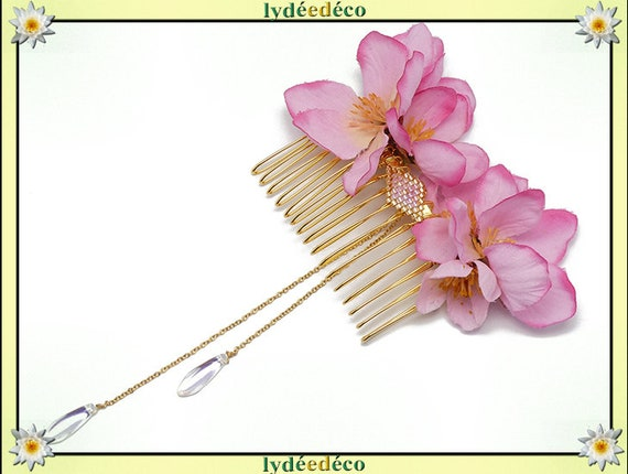 Vintage hair comb wedding weaving beads iridescent Golden pink Japan sakura guest gift bridesmaid jewelry bridal accessory couple Fleur