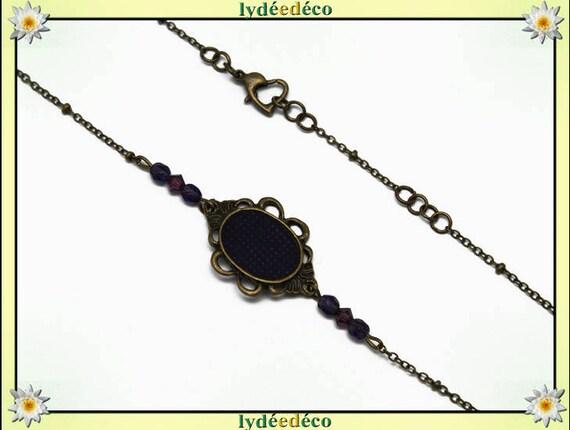 Headband Coeurs perles facettes toupie verre retro violet blanc laiton bronze cheveux mariage fête