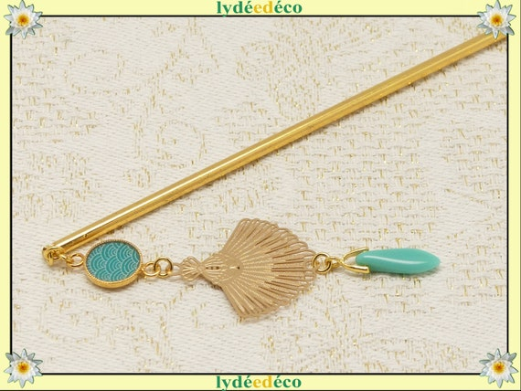 Pique SEIGAIHA hair accessory chignon fan Japan brass or turquoise gold or pink pearl resin wedding gift