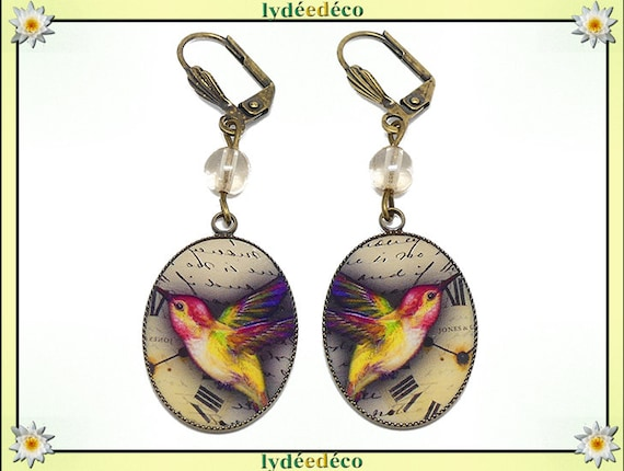 Bird earrings Hummingbird clock Japan resin brass yellow red green brown old-school mother's day birthday gift Christmas