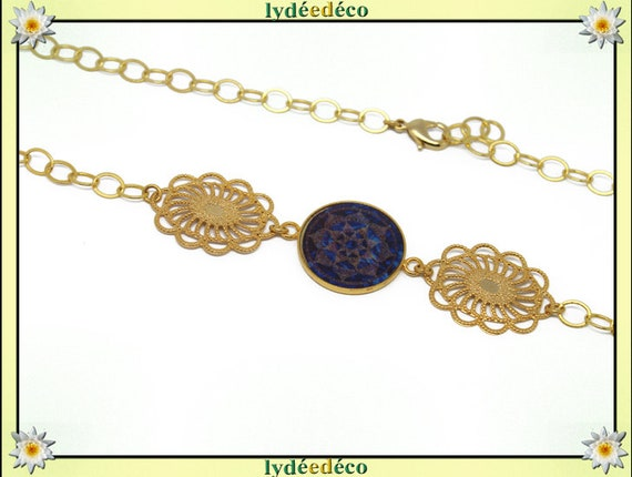 Headband ARABESQUE brass gold 24 k blue Brown resin mother's day personalized gift anniversary