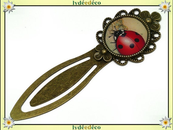 Bookmark retro Ladybug red white black beige resin brass 20mm mother's day gift personalized birthday thank you teacher