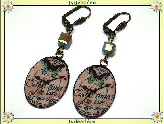 Earrings retro vintage Green Pink Brown Butterfly time clock bronze resin beads birthday Christmas mothers