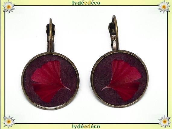 Boucles d'oreilles dormeuses rétro Ginko Japon rouge violet arbre sacré résine laiton bronze fete des meres anniversaire cadeau