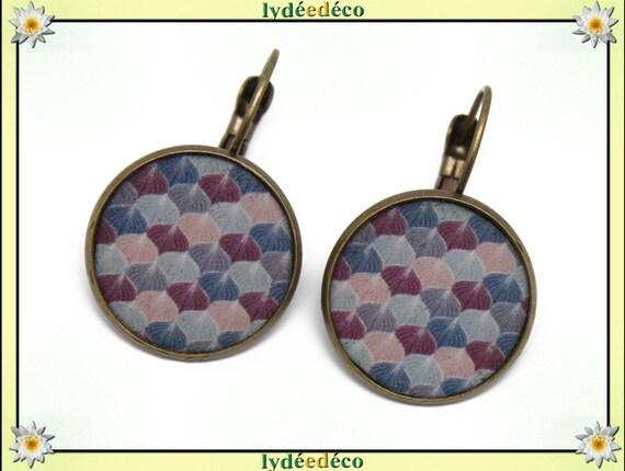 Retro Stud Earrings bronze Ginko Japan blue gray purple pink resin brass