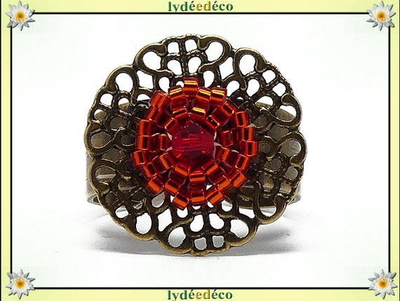 Ring brass woven flower print beads Japanese red orange colors 20mm adjustable gift Christmas birthday mother's day