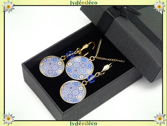 Parure Collier Loops lisboa azulejos sky blue white gilded brass 24k gold filled 14K birthday party of mothers birthday gift Christmas