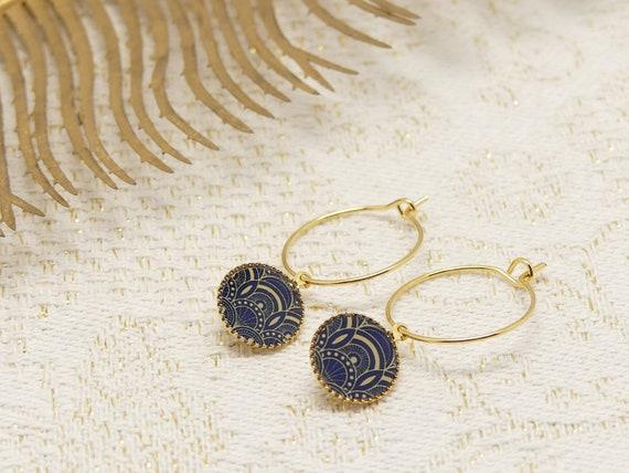 Mini Creoles BLUE art deco arabesques or brass or late 24k resin gift gift birthday wedding Christmas