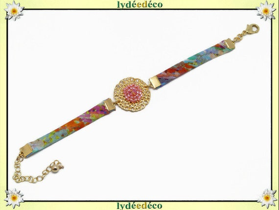Adjustable bracelet printable flower fabric liberty blue blue green pink pearls Japanese brass gold 24 k gift Christmas birthday party of mothers