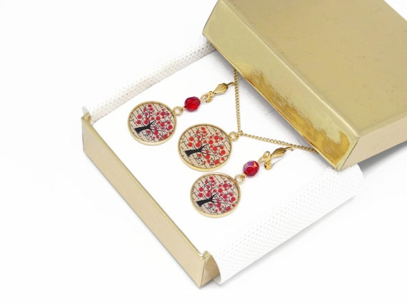 Set necklace earrings poppy tree of life brass gold 24 k gold filled 14K red beige black mother's day birthday Christmas gift