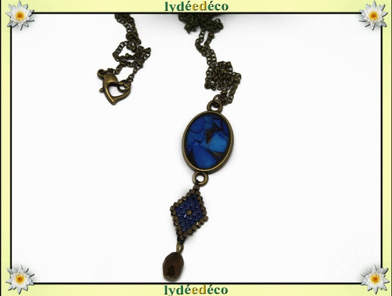 Retro necklace cabochon resin Butterfly 20 x 15mm blue black brass Locket Rhombus beads 15 x 10mm heart clasp