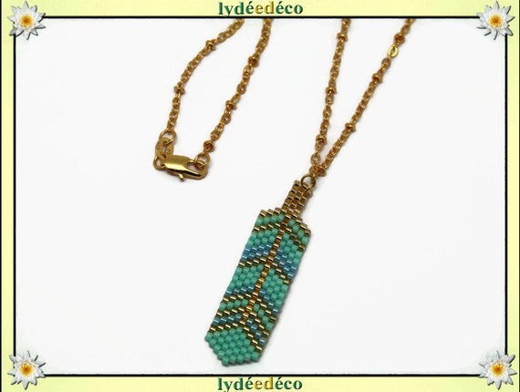 Necklace plated 18 k green blue turquoise Gold feather weaving beads ball chain