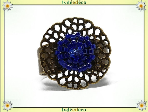 Ring weaving brass flower print beads Japanese dark blue colors 20mm adjustable mothers birthday Christmas gift holiday