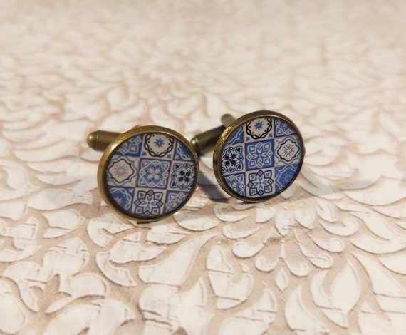 Cufflinks AZULEJOS suit resin white lisboa Azulejos brass bronze 14mm party of the fathers thank master gift birthday