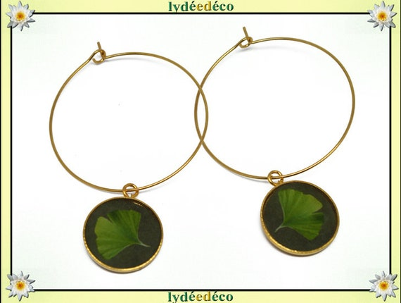 Ginko brass hoop earrings gold 24K lime green flower resin personalized gift birthday mother's day wedding thank you teacher